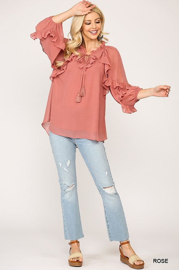 Ruffle Blouse Top with Front Tassel