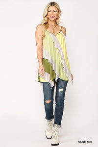 Multi Color Block Sleeveless Ruffle Tunic Top