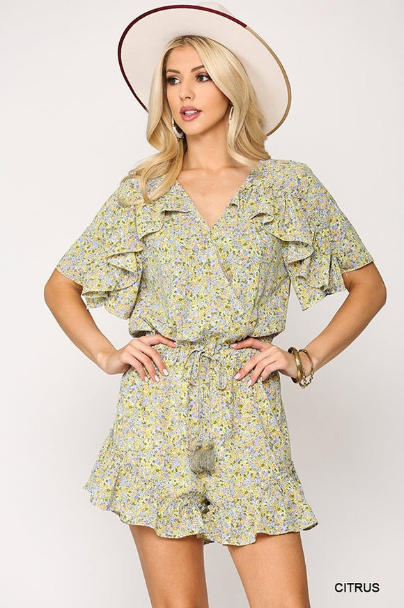 Floral Ruffle Waist Smoked Romper