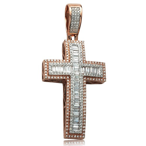 1.25CTW DIAMOND BAGUETTE CROSS PENDANT
