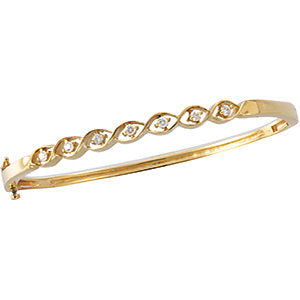 14K Yellow 1/4 CTW Diamond Bangle Bracelet