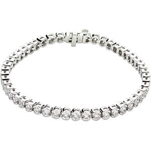 "14K White 6 CTW Diamond Line 7.25"" Bracelet"