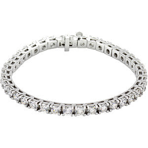 "18K White 10 CTW Diamond Line 7.25"" Bracelet"