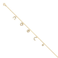 14KY Light CZ Chain Anklet - 9+1""