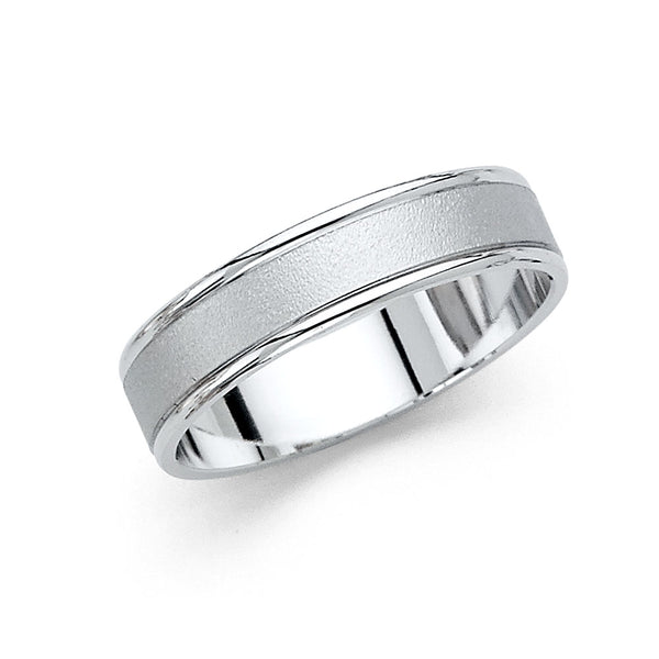 14KW 5mm Sand Blast Wedding Band - Size 10