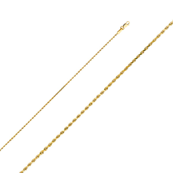 10K 1mm Solid Gold Rope Chain
