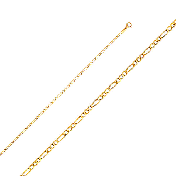 10K 2.5 mm Hollow Gold Figaro Chain
