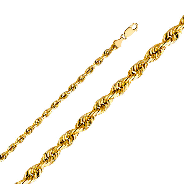 14K 6mm Solid Gold Rope Chain