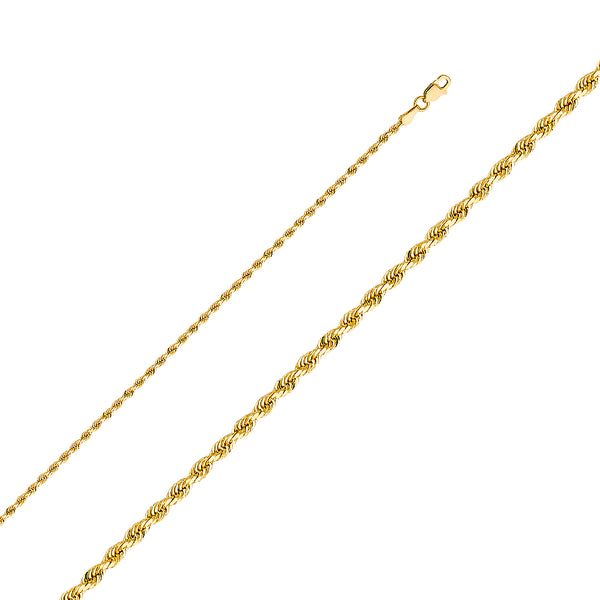 10K 2mm Solid Gold Rope Chain