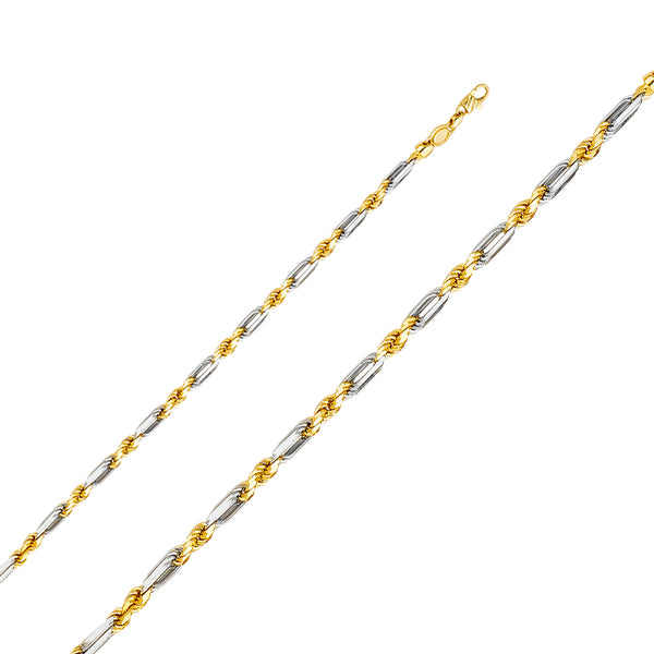 14K 4mm Solid Gold Figarope Chain