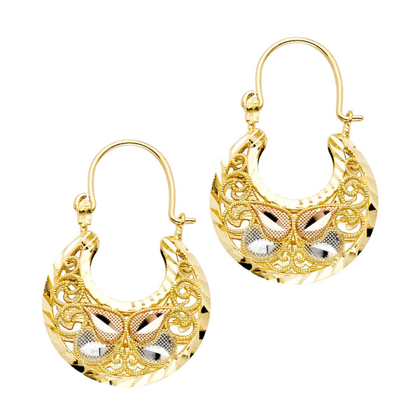 14K Tri-Color Basket Earrings