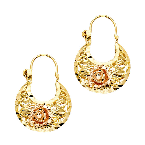 14K Basket Earrings Rose