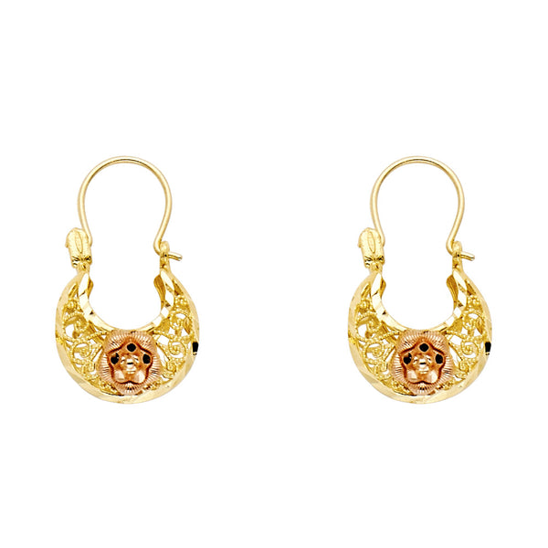 14K Basket Rose Earrings