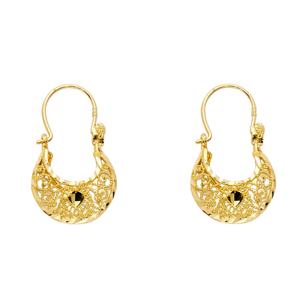 14K Gold Basket Earrings