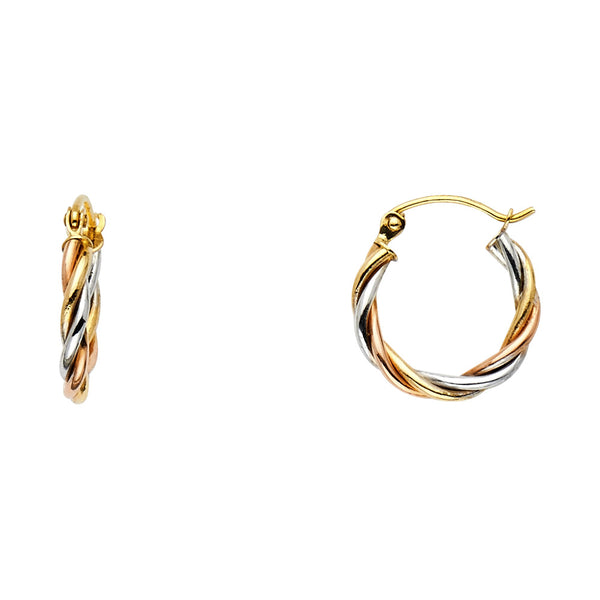 14K Braided Hoop Earrings