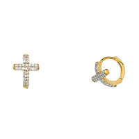 14KY Cross CZ Huggies Earringsrings