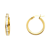 14K CZ Hoop Earrings