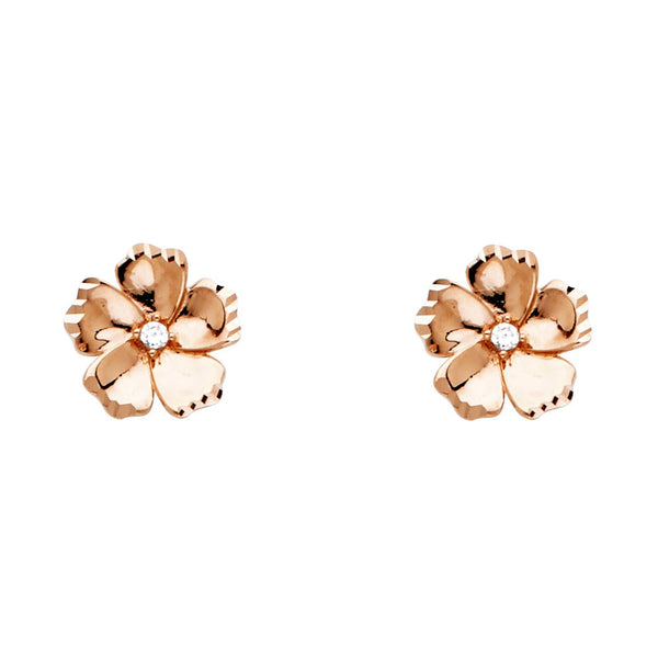 14K CZ Flower Post Earrings