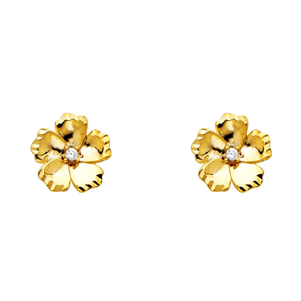 14KY CZ Flower Post Earrings