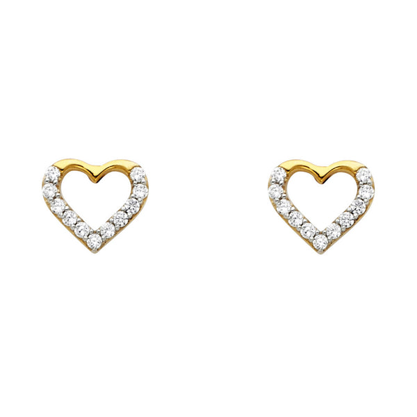 14KY CZ Heart Post Earrings