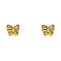 14KY CZ Butterfly Post Earrings