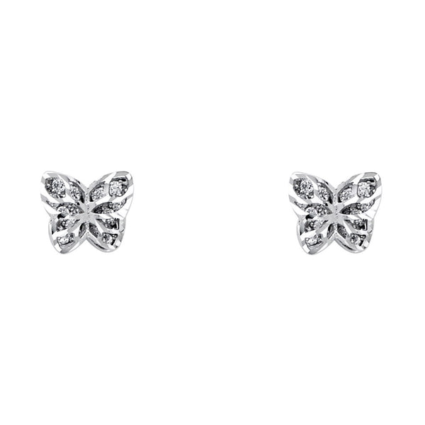 14KW CZ Butterfly Post Earrings