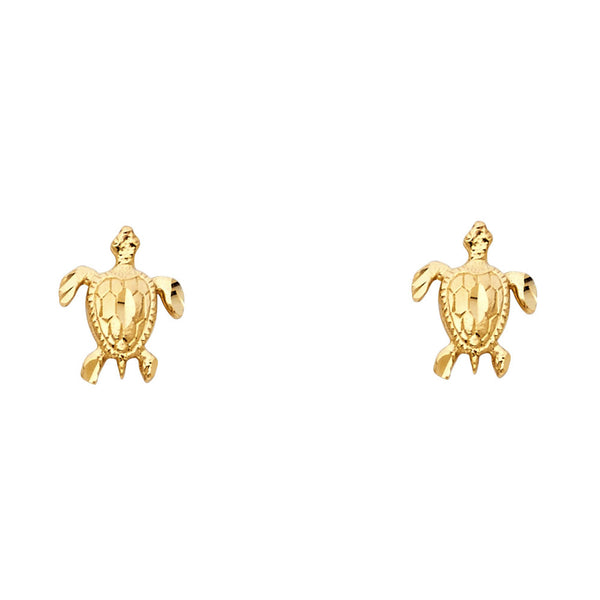 14KY Turtle Post Earrings