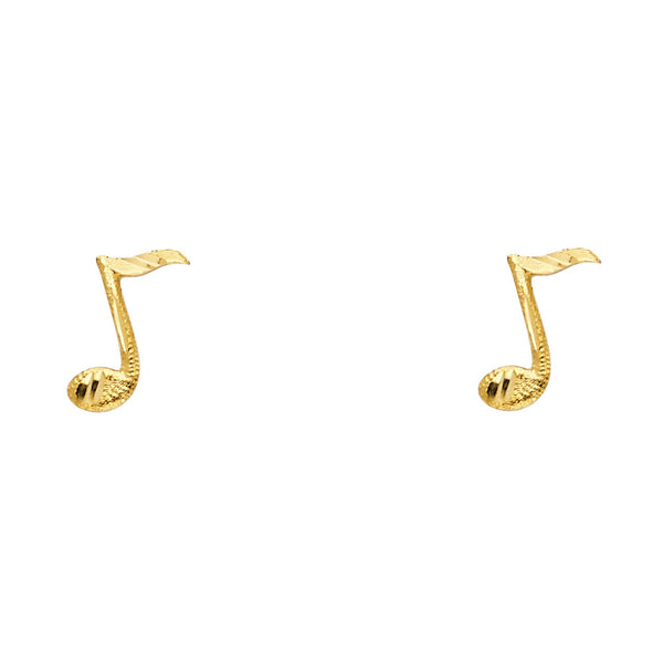 14KY Music Note Post Earrings