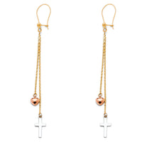 14K Cross Heart Hanging Earrings