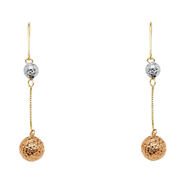 14K 2T RD Ball Hanging Earrings