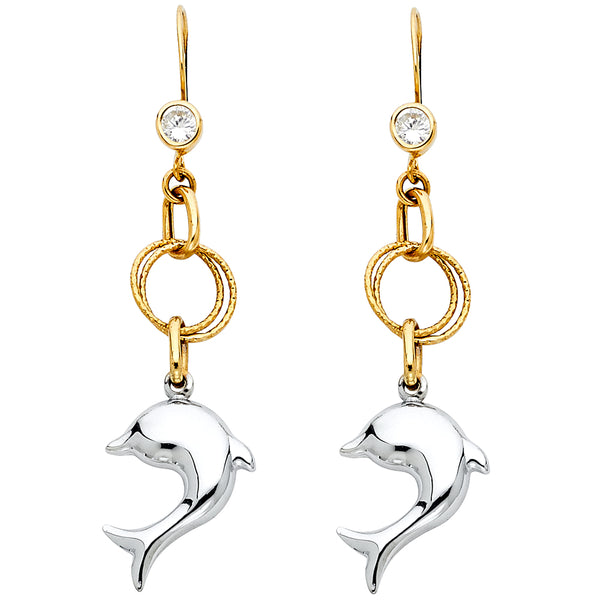 14K 2T Hollow Hanging Dolphin Earrings