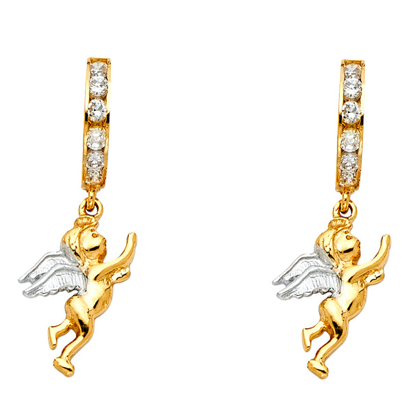 14K 2T CZ Angel Hanging Huggies Earrings