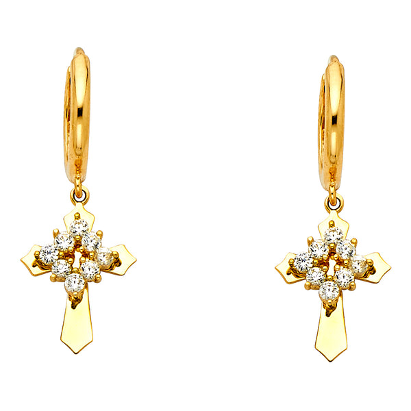 14K Cross CZ Earrings