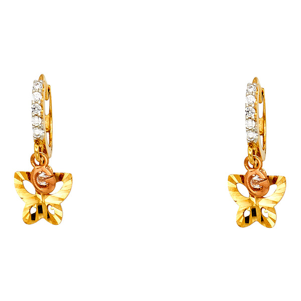 14K Tri-Color Gold CZ Butterfly