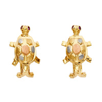 14K Turtle Earrings Clip Lock