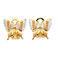 14K 3C Butterfly Earrings W/Clip Lock