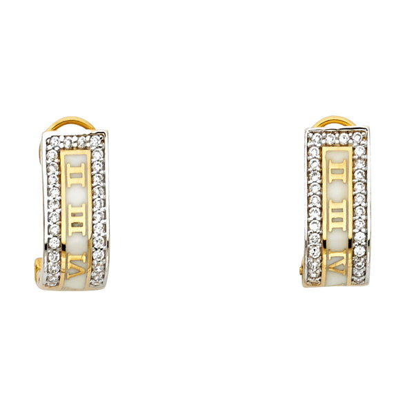 14K 2T Roman Earrings W/Clip Lock