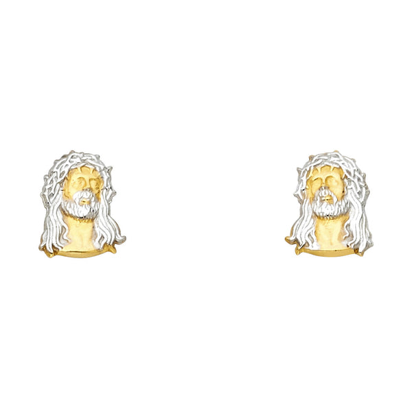 14K 2T Jesus Face Post Earrings