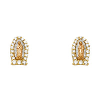 14K Our Lady of Guadalupe Earrings CZ