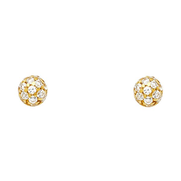 14KY CZ Half Ball Post Earrings