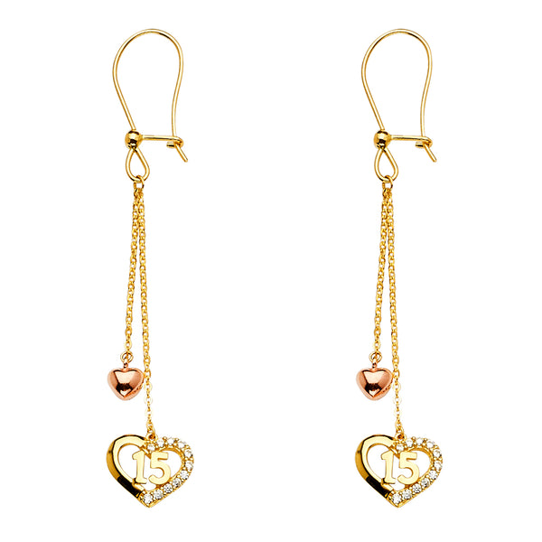 14K Sweet 15 Qunicenera  Hanging Earrings
