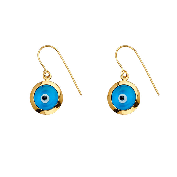 14K Evil Eye Hanging Earrings