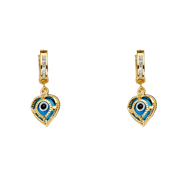 14KY Evil Eye Hanging Earrings