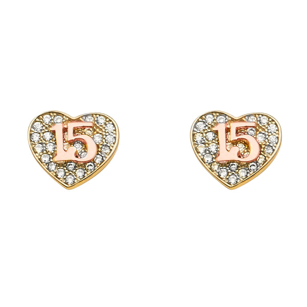 14K Sweet 15 Quincenera CZ Hanging Earrings