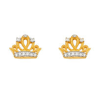14K Crown  CZ Earrings