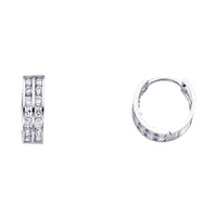 14KW 5mm CZ  Huggies Earrings