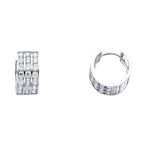 14KW 7mm CZ Huggies Earrings
