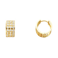 14KY 7mm CZ Huggies Earrings