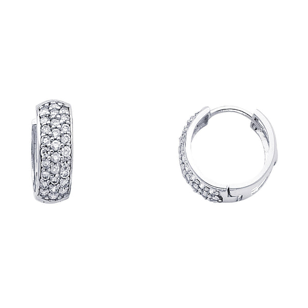14KW 6mm CZ  Huggies Earrings