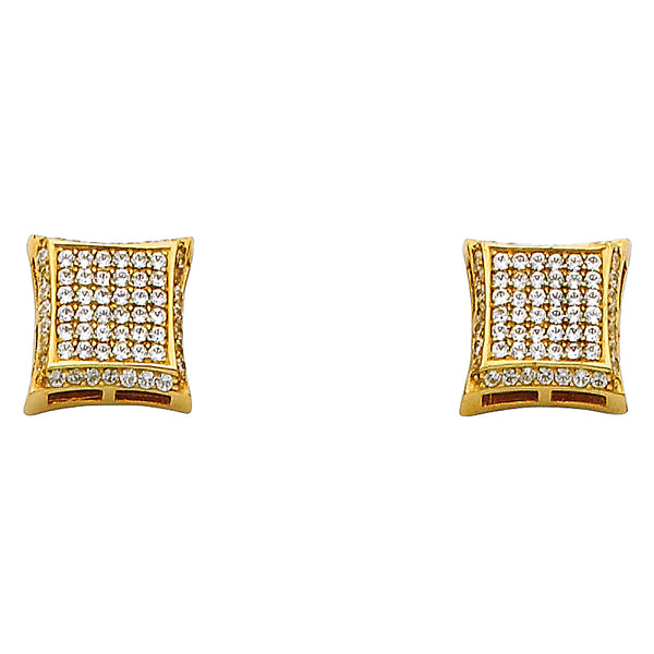 14KY 10mm Square CZ Earrings